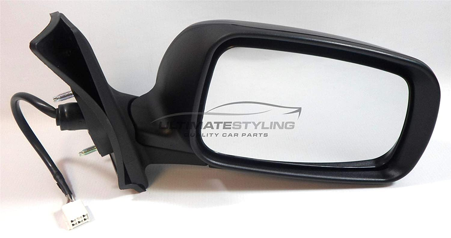 Ultimate Styling Replacement Electric None Power Folding Wing Door Mirror With Heated Glass With Paintable RH Black Mirror Cover Cap Side Of Product Drivers Side