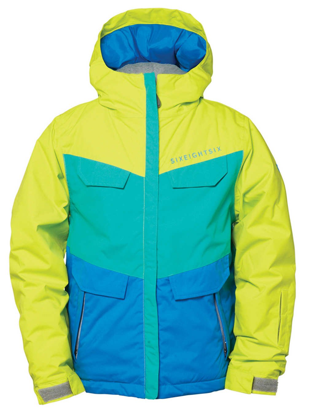 686 Authentic Annex Insulated Snowboard Jacket Pool Colorblock Sz M Girls