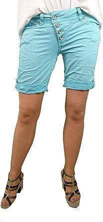 """Buena Vista - Pantalones cortos de verano """"Malibu"""" para mujer, bermuda colorida, de sarga elástica, para arremangar"""