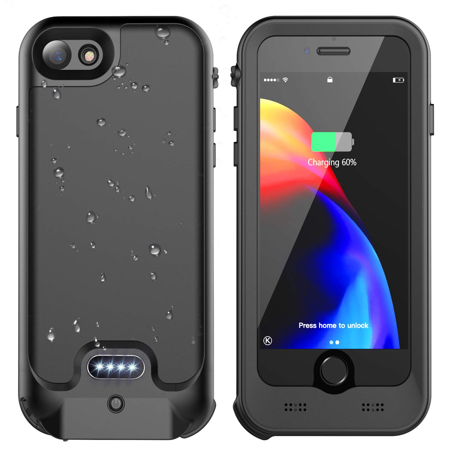 iPhone 7/8 Battery Case, ATOP 3200mAh Slim Portable Charger Case with Built-in Screen Protector Compatible QI Wireless Charging IPX5 Waterproof Heavy Duty Shockproof Charging Case (4.7 inch) by ATOP