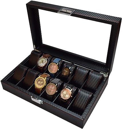 Caja de Reloj de Fibra de Carbono de 12 Ranuras con Cristal Superior Colección de exhibición de Joyas Caja de Almacenamiento Relojes de Pulsera Organizador de escaparate para Hombres/Mujeres: Amazon.es: Hogar