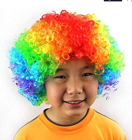 Party Disco Rainbow Afro Clown Hair Football Fan Adult Child Costume Curly WigFO