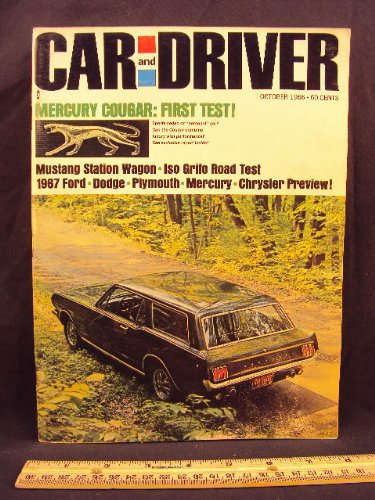 1966 66 October CAR AND DRIVER Magazine (Features: Road Test on Mercury Cougar & Iso Grifo, + Saab on automotive safety)