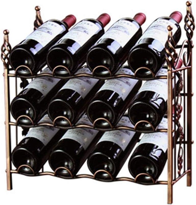 ワインラック 耐久性のある12ワインディスプレイラックの立ちボトル収納棚ぐらつき インテリア ディスプレイ (Color : Brown, Size : 42x44x20cm)