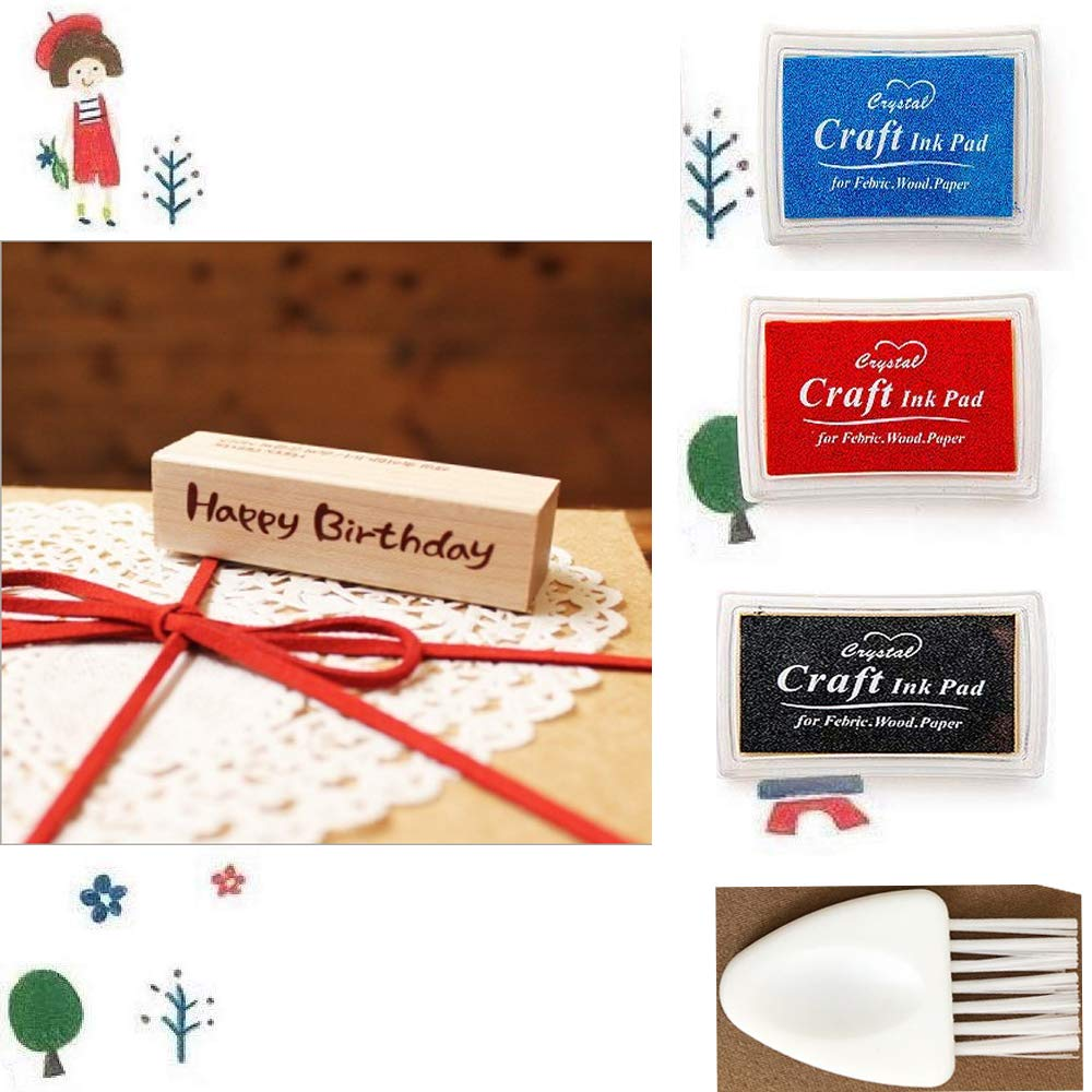 1 Wood Rubber Stamp 3 Different-Colored Ink Pads for Scrapbooking DIY Crafts Card Making 1 Small Cleaning Brush. Happy Birthday