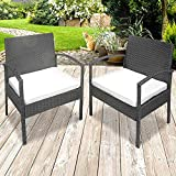 Miadomodo Set of 2 Poly Rattan Garden Armchairs (Choice of Colour) w/Cushions (73 x 60 x 57.5 cm) Sturdy Water Resistant High Comfort Garden Furniture Color Grey