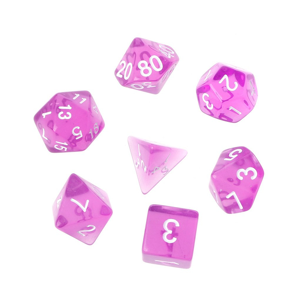 Lunji 7 Transparent Dés Jeux De Role Donjons et Dragons D&D Dice - Divertissement Décompression (Orange)