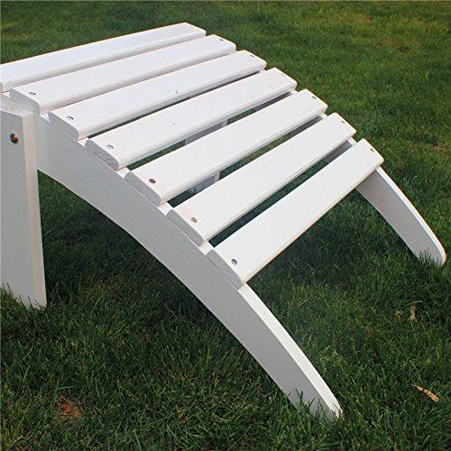 C Living Outdoor Fashion Wooden Adirondack Chairs Ottoman Footrest Patio Deck Garden Furniture (Ottoman,White) (Adirondack Patio Chair Footrest)