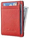 Kyпить Travelambo RFID Front Pocket Minimalist Slim Wallet Genuine Leather Small Size (crosshatch red) на Amazon.com