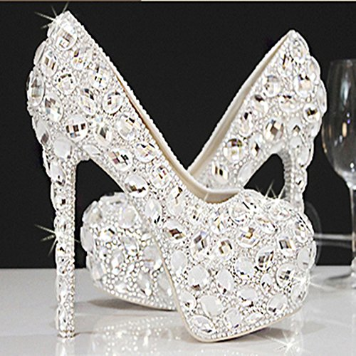 Si& Strass/hohe Koreanische Mode/Bridal/Intarsien Crystal Strass/hohe Si& Ferse/Plattform/Hochzeit Kleider/Silberhochzeit Schuhe Weiß a6f93e