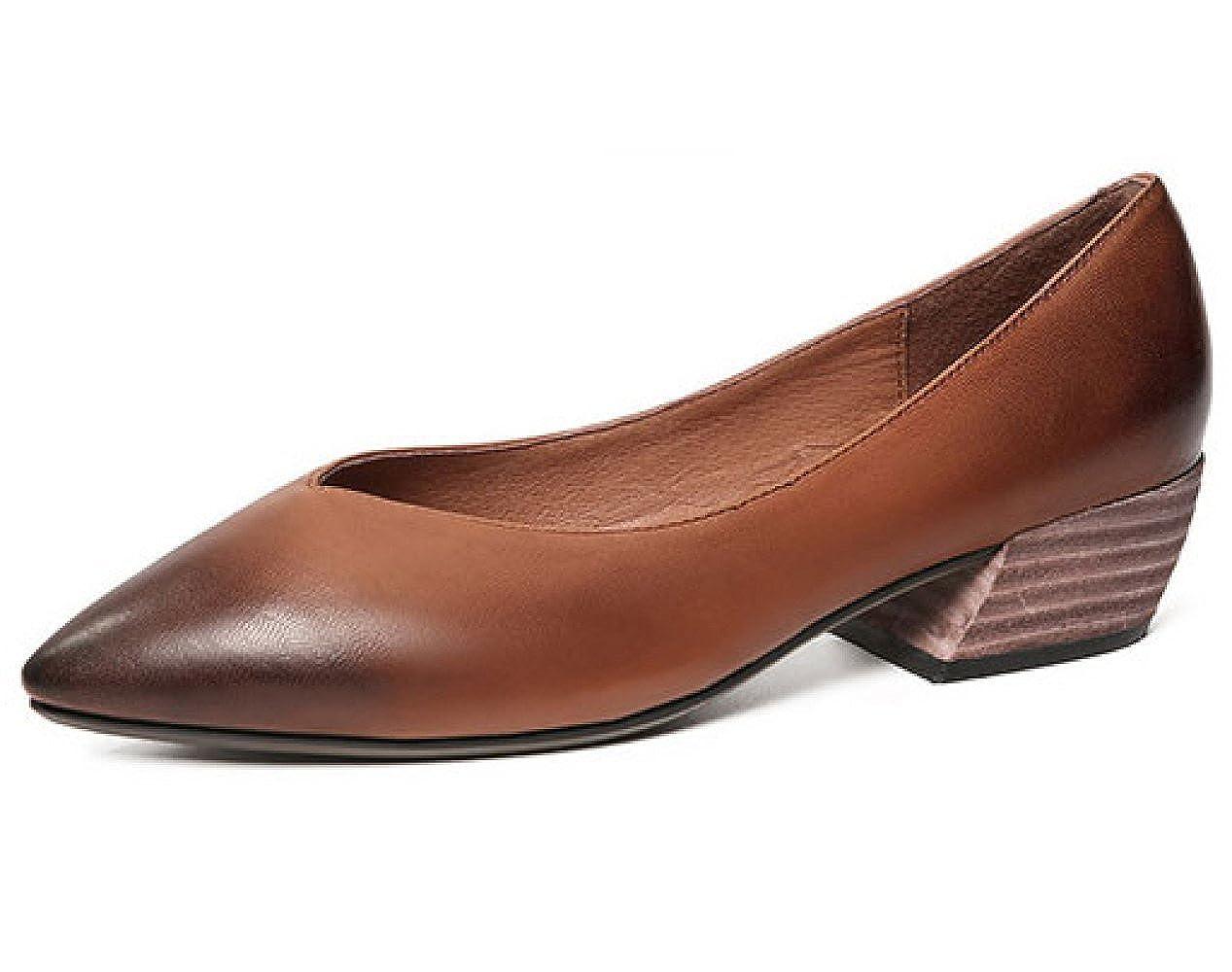 Damen Retro-V-Ausschnitt Casual Sandalen, Grobe Ferse, Leder, Leder, Alle Arten von Passenden, Flacher Mund, Kein Spann Braun