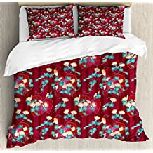 Lunarable Japanese Queen Size Duvet Cover Set, Far East Asian Floral Arrangement Morning Glory Pattern with a Oriental Background, Decorative 3 Piece Bedding Set with 2 Pillow Shams, Multicolor