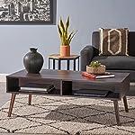 Andy Mid Century Modern Fuax Wood Overlay Coffee Table, Dark Walnut