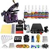 Solong Tattoo® Complete Professional Tattoo Kit 1 Machine Gun 7 Color Inks Power Supply Foot Pedal Grip Needles Tips TK105-78