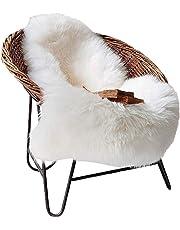 Faux Fur Sheepskin Rug 60 x 90 cm Faux Fleece Fluffy Area Rugs Anti-Skid Carpet for Living Room Bedroom Sofa Nursery Rugs (White)