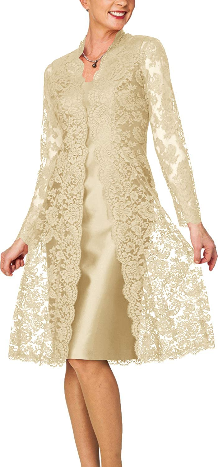 Champagne H.S.D Women's Sheath Short Satin Mother of The Bride Dress with Lace Jacket