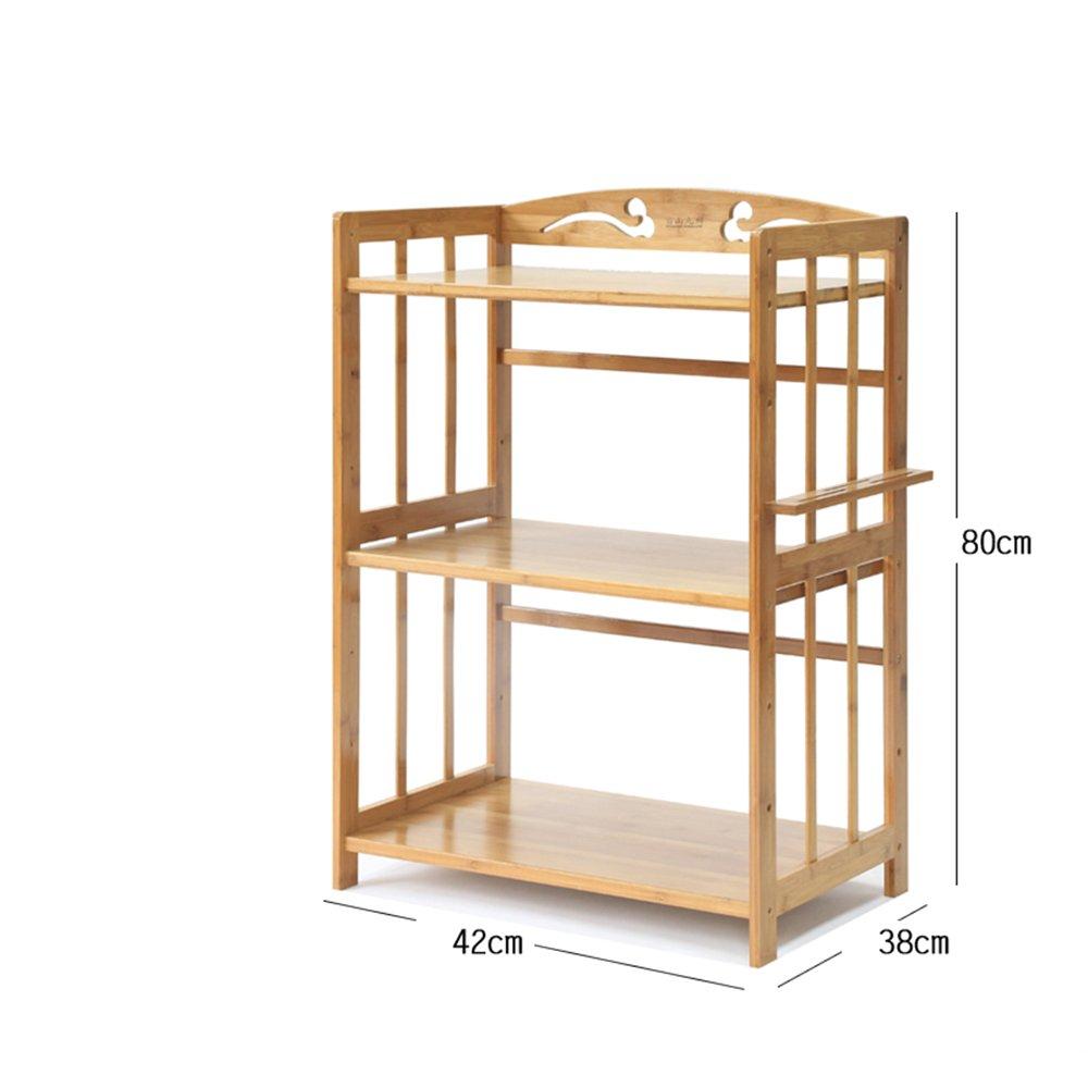 803842cm MENA Home Regal   Mikrowelle Rack Küche Boden Bambus Massivholz Regal Aufbewahrung Regal Einfache Regal Dreistöckiges Regal (größe   80  38  42cm)