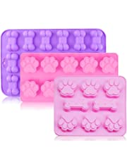 Silicone Baking Molds with Dog Paw and Bone Shape, MoRange Food Grade Ice Trays Chocolate Candy Jelly Biscuits Cupcake Maker Bakeware Safe for Oven Microwave Freezer Dishwasher