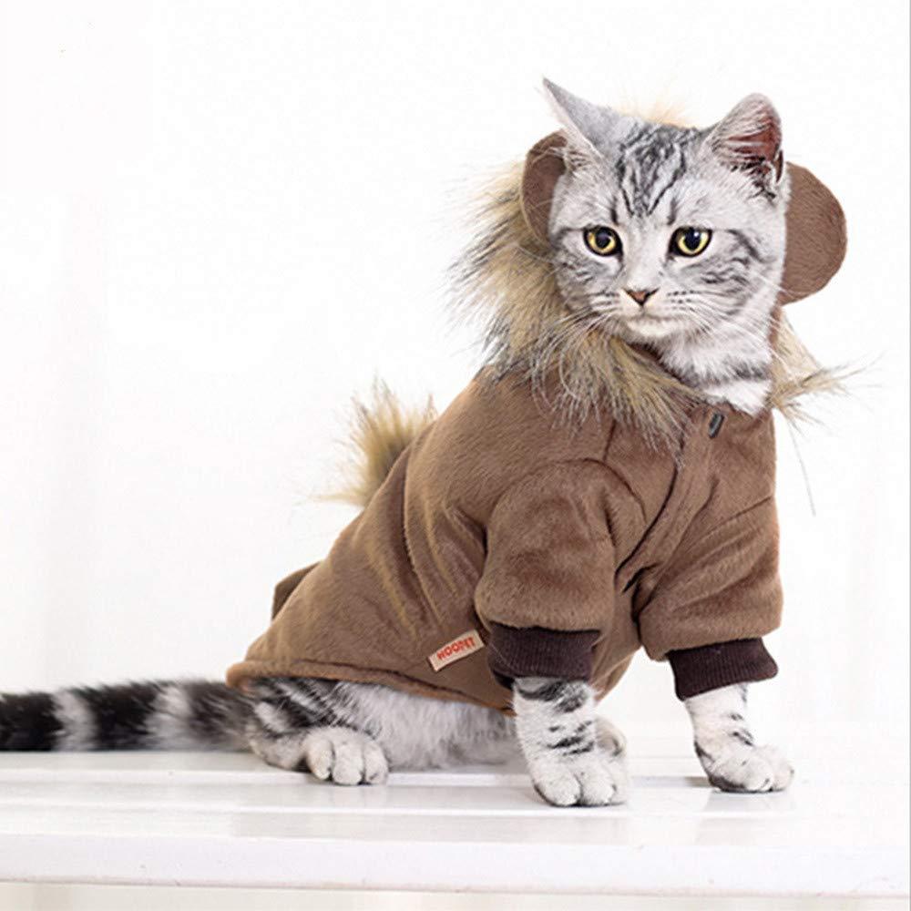 Peluca de león para Gato, Perro o Gato, para Invierno, con Oreja y Cola, Disfraz Gatos y Perros pequeños en Halloween, Navidad