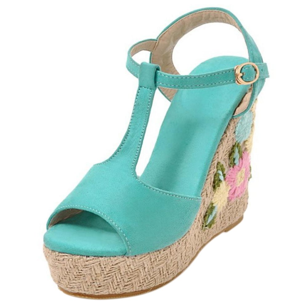 TAOFFEN Women Ankle Strap Wedge Heels Sandals B07BTTFTHJ 7 US = 24.5 CM|Blue-4