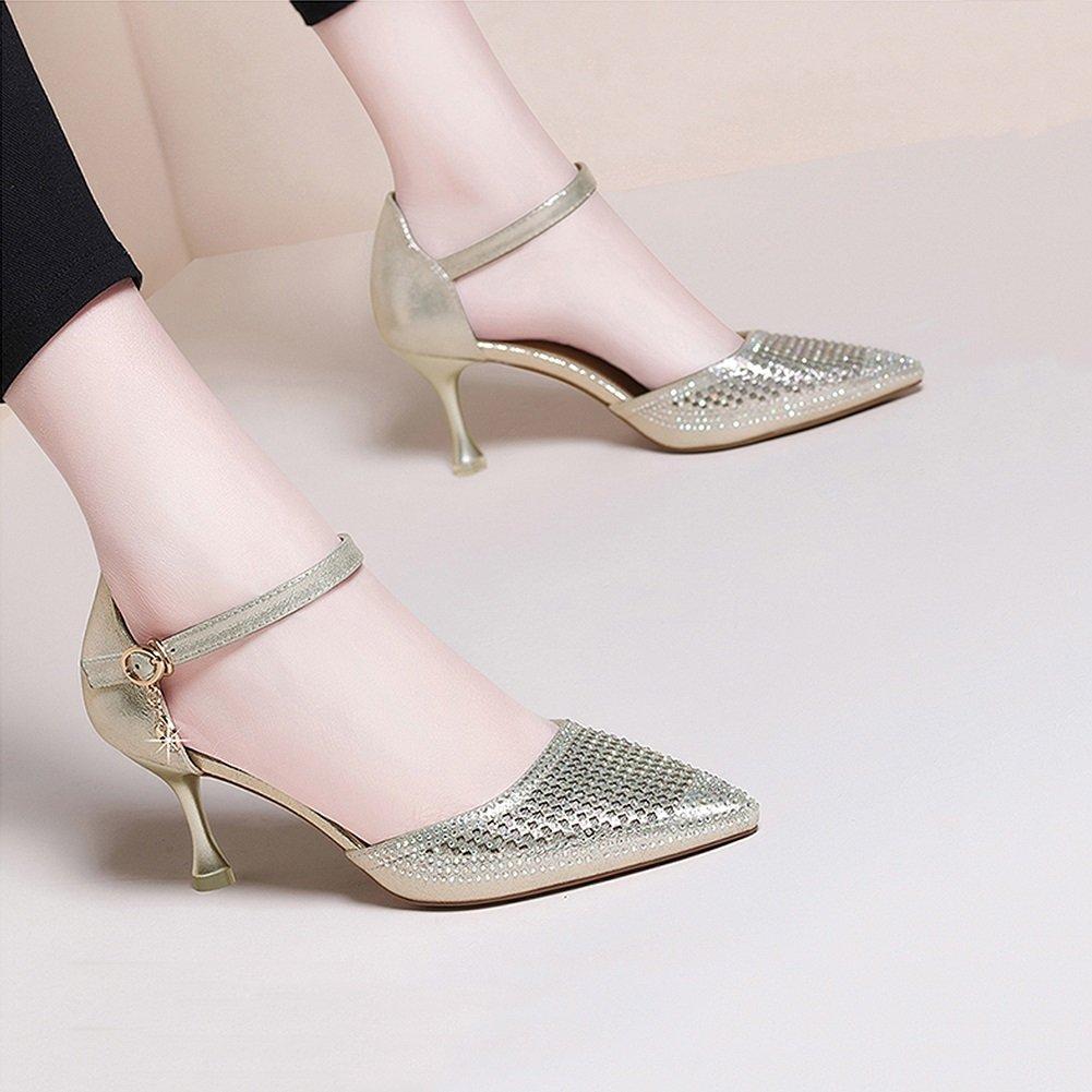XUERUI Reizvolle Schwarze hohe Absätze weibliche weibliche weibliche Wilde Bequeme Schuhe der Wortschnalle zeigten mit hohen Absätzen fein Pumps (größe   EU38 UK5.5 CN38) f9a113