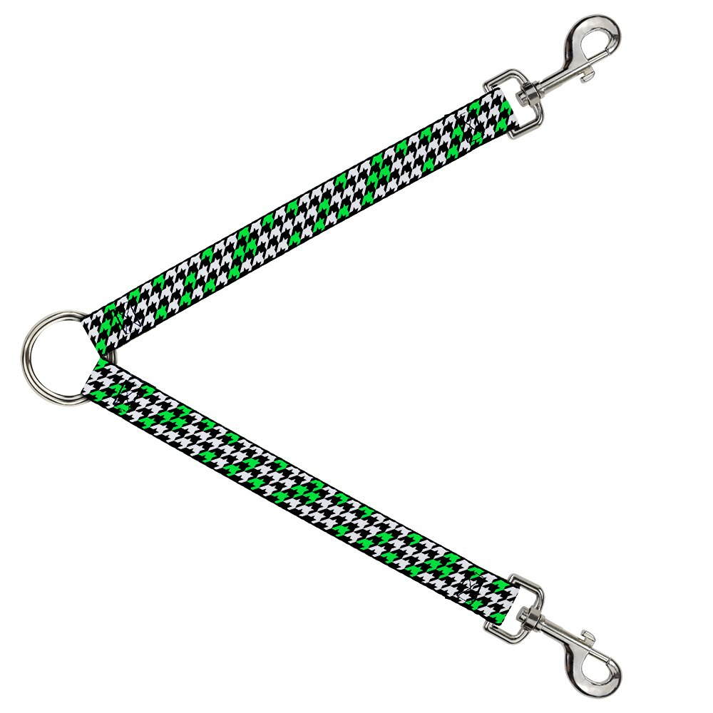 Buckle-Down DLS-W30803 Leash Splitter-Houndstooth Black White Neon Green, 1  W-30  L