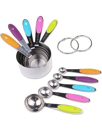 GEEKHOM Set de tazas y cucharas medidoras (10 piezas) con asas de silicona blanda