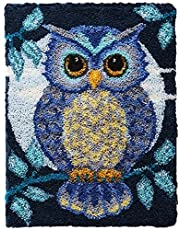 Latch Hook Rug Kits Owl DIY Crochet Yarn Rugs Hooking Craft Kit with Color Preprinted Pattern Design for Adults Kids 20.9X14.9Inch