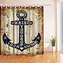 Nautical Decor Shower Curtains By KOTOM Rustic Wood Plank With Nautic Anchor On Board Bath Curtains, 69X70 Inches