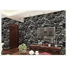 """Retro black Wallpaper 3D Home Decoration Living Room Background Coffee Shop Wallcoverings 20.8"""" x 393.7"""""""
