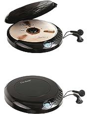 Discman Reproductor de CD portátil con auriculares in-ear pantalla LCD Disc (Reproductor de