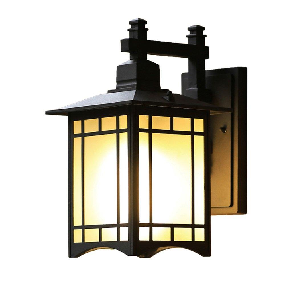 Fting Lanterna da Parete per Esterni Luce Esterna in Alluminio Giapponese Impermeabile Lampada da Giardino con Balcone Corridoio Luce Parete in Vetro E27 (colore   Nero, Dimensioni   47 Centimetri)
