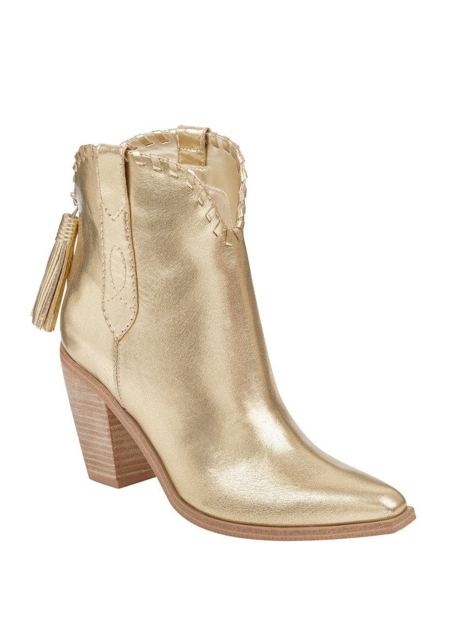 GUESS Women's Rodeo Faux-Leather Western Booties B07BKZVB4M 5.5 M US|Gold