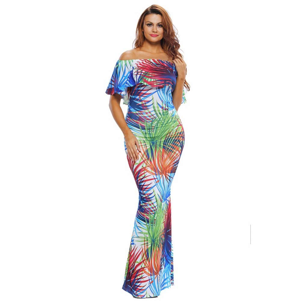 1 Dress for Women,Summer Women's Tropical Print Short Sleeve Long Dress Elegant Bohemia Party Dress Beach Dress Maxi Dresses