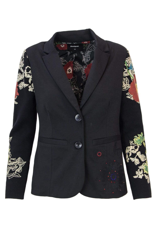 Desigual Women's 18WWEW85BLACK Black Polyester Blazer