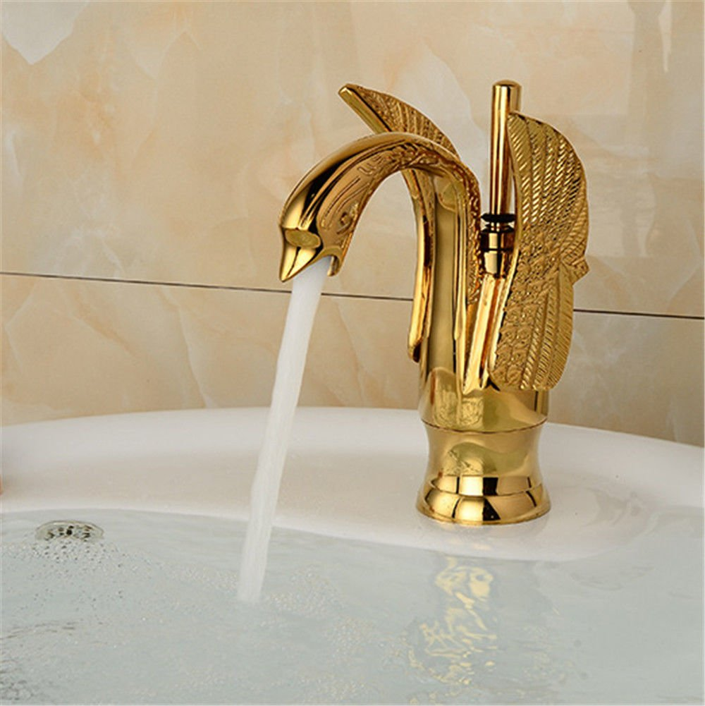 AQiMM Wasserhahn Waschtisch Waschbecken Armatur Schwan Und Kaltem Wasser Antique-Brass Gold  Waschtischarmatur Waschbeckenarmatur Badarmatur Für Badezimmer