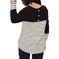 0b9c70a5768 Nemidor Women s Stripe Contrast Round Neck T Shirts Plus Size Casual Top
