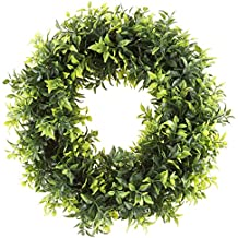 Round Wreath, Artificial Wreath for the Front Door by Pure Garden, Home Décor, UV Resistant Artificial, Basil Leaf – 11.5 Inches