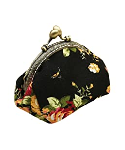 Wallet,toraway Lady Vintage Flower Mini Coin Purse Wallet Clutch bag (Black)