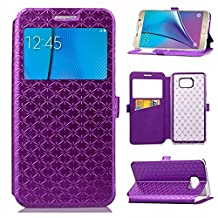 YHUISEN Solid Color Smart Window View PU Leather Wallet Flip Folio Cover Case With Stand/Card Slot For Samsung Galaxy Note 5 ( Color : Purple )