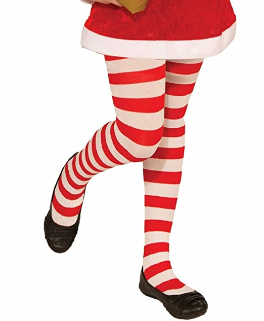 Perfekt Red and white striped pantyhose off. Fake