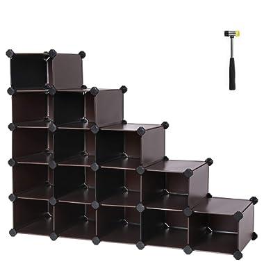 SONGMICS Shoe Rack,16-Cube Modular Cube Storage,Space Saving DIY Plastic Shoe Storage Organizer Units, Closet Cabinet, Ideal for Entryway Hallway Bathroom Living Room and Corridor Brown ULPC44Z