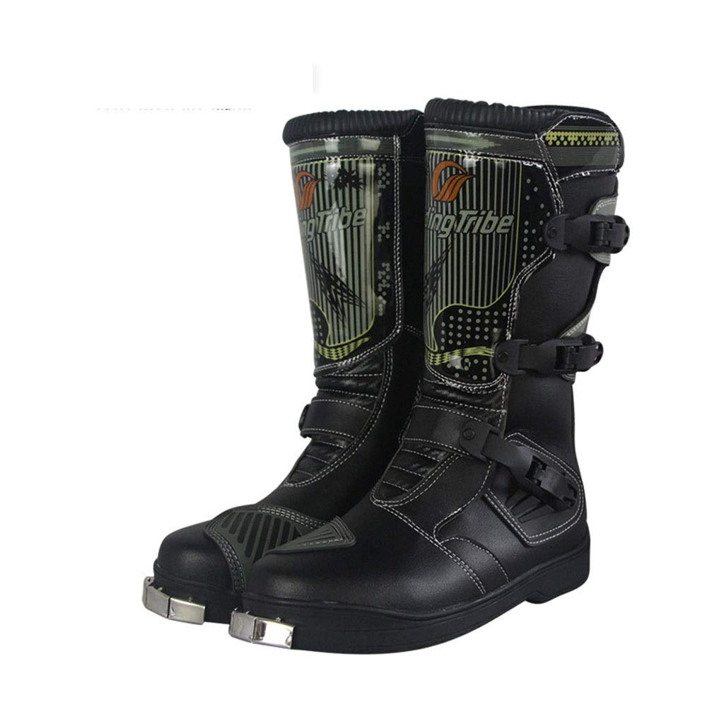 Black 10 US Motocross Boots All-Round Predection Steel Sole Professional Racing shoes Light, Breathable, Anti-Drop, Comfort, Anti-Collision