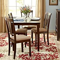 Dining Table and Chair Set in Gorgeous Espresso Finish - This Elegant 5 Piece Kitchen or Dining Room Furniture Is Sturdy and Durable - Microfiber Upholstered Side Chair - 30 Days Warranty!
