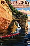 Pictured Rocks Inhabitant Lakeshore, Michigan (9x12 Collectible Art Print, Wall Decor Travel Poster)