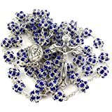 Blue Crystal Beads Rosary Catholic Necklace Miraculous Medal and Metal Cross From Jerusalem