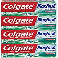 4-Pack Colgate Max Fresh Whitening Toothpaste with Breath Strips (Clean Mint)
