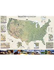 National Parks of the United States: Wall Maps History & Nature