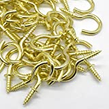 50Pcs Brass Plated Ceiling Hooks 7/8 InchesCups