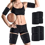 OUTERDO Arm and Thigh Trimmers for Women & Men(4 Piece Kit) Body Exercise Wraps Adjustable to Lose Fat Reduce Cellulite and I